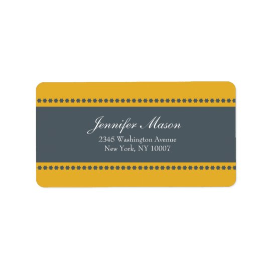 Flower power - yellow and grey address labels