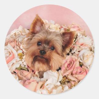 Flower pup round stickers