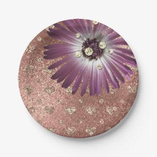 Flower Purple Blush Hearts Rose Gold Diamond Glass Paper Plate