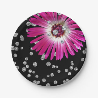 Flower Purple Bright Pink Rose Diamond Black 7 Inch Paper Plate