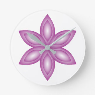 Flower purple round clock