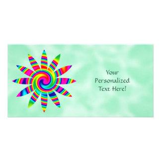 Flower Rainbow Twirl Photo Greeting Card