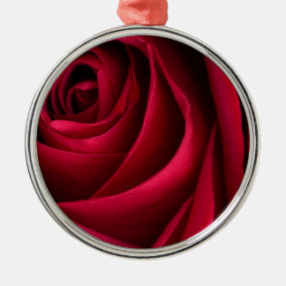 Flower Red Rose Silver-Colored Round Ornament