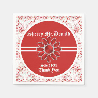 Flower Red Sweet 16th Paper Napkin 1