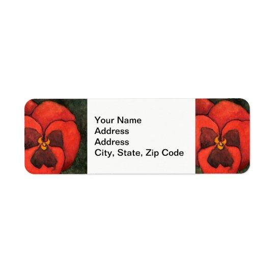Flower Return Address Label, pansy #3 Return Address Label