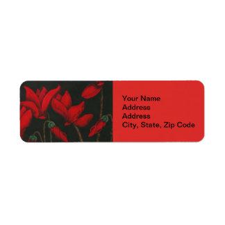 Flower Return Address Label, red cyclamen. Return Address Label