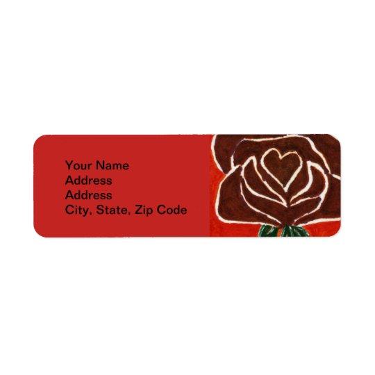 Flower Return Address Label, rose heart 7 Return Address Label