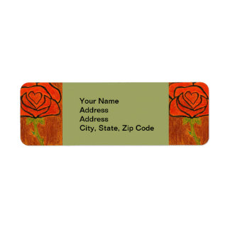 Flower Return Address Label rose red and green.