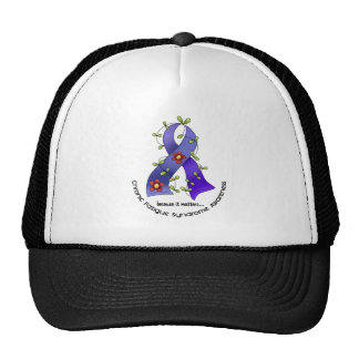 Flower Ribbon 1 CFS Chronic Fatigue Syndrome Cap