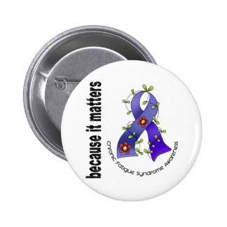 Flower Ribbon 3 CFS Chronic Fatigue Syndrome Pins