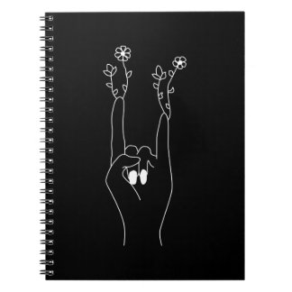 Flower rock note book black