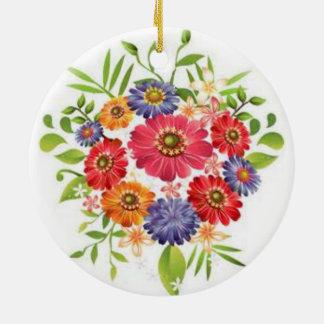 flower round ceramic decoration