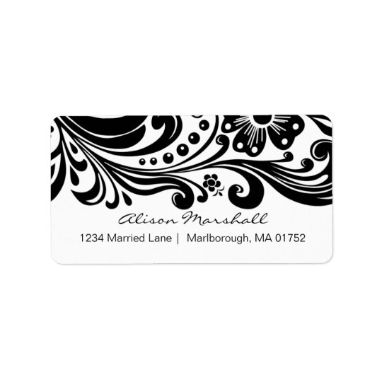 Flower Scroll Address Label