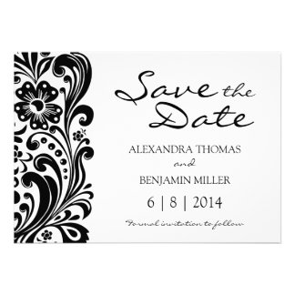 Flower Scroll Save the Date Custom Announcements