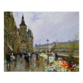 Flower Sellers by the Seine Poster