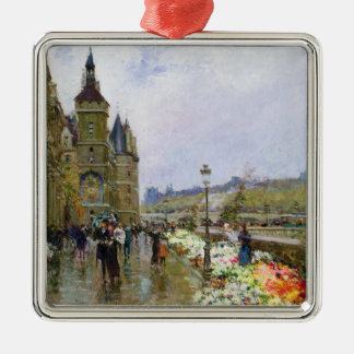 Flower Sellers by the Seine Silver-Colored Square Decoration