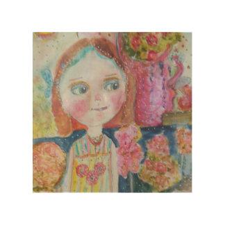 Flower Shop Girl Wood Wall Art