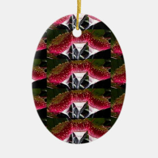 FLOWER SHOW Double-Sided OVAL CERAMIC CHRISTMAS ORNAMENT