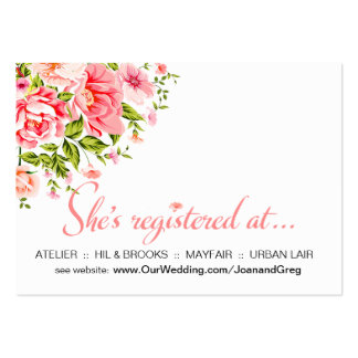 Flower Shower Registration Insert | baby pink Large Business Cards (Pack Of 100)
