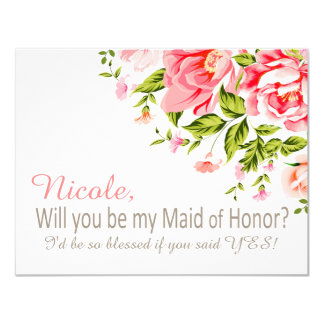 Flower Shower Will You Be My Maid of Honor? | pink 11 Cm X 14 Cm Invitation Card