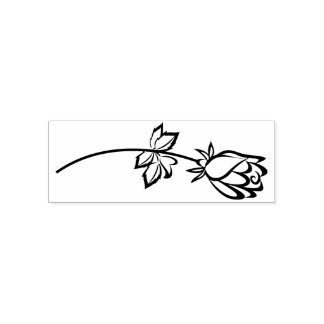 Flower Silhouette - Black Self-inking Stamp