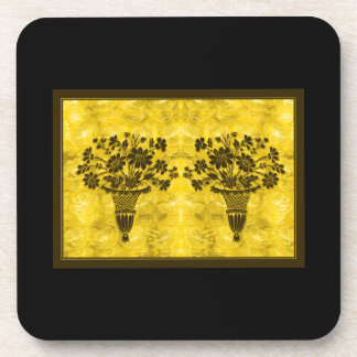 Flower Silhouettes Gold Cork Coasters by Janz