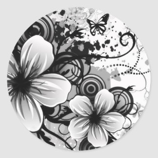 Flower Sketch Round Sticker