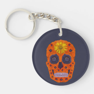 Flower Skull 1 Double-Sided Round Acrylic Key Ring