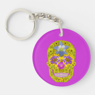 Flower Skull 3 Double-Sided Round Acrylic Key Ring