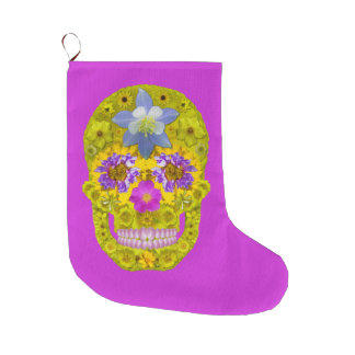 Flower Skull 3 Large Christmas Stocking