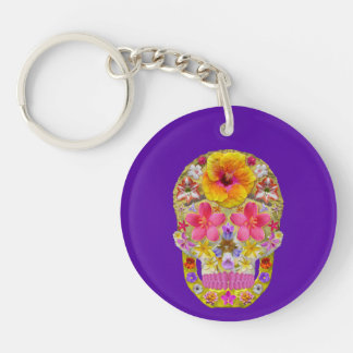 Flower Skull 4 - Tropical Double-Sided Round Acrylic Key Ring
