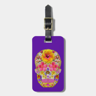 Flower Skull 4 - Tropical Luggage Tag
