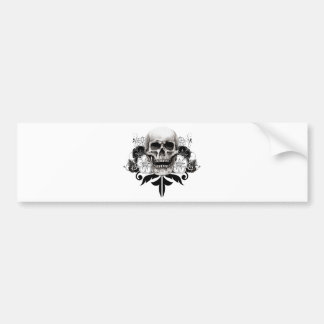 Flower & Skull Bumper Sticker