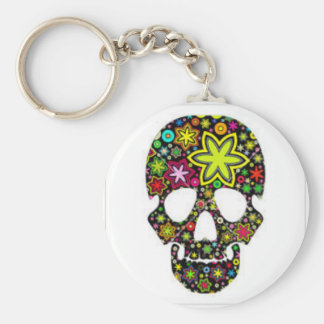 Flower Skull Button Keychain