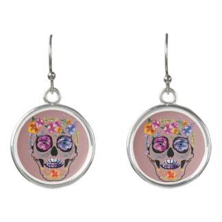 Flower Skull Earrings - Horror Earring Jewelry