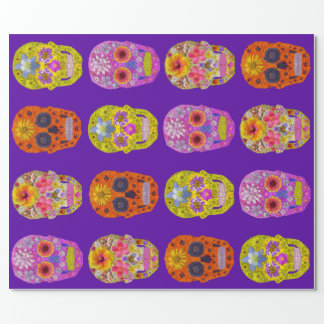 Flower Skulls Wrapping Paper