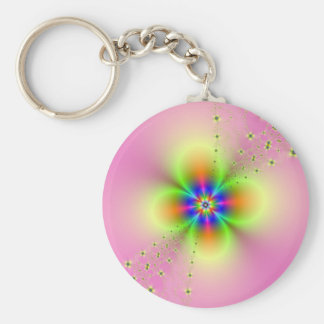 Flower Spray on Pink Key Chain