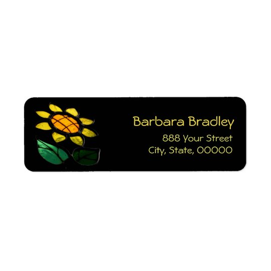 Flower Stained Glass Return Address Label
