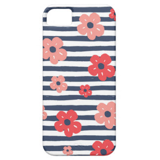 Flower Stripe in Blue iPhone 5 Cases