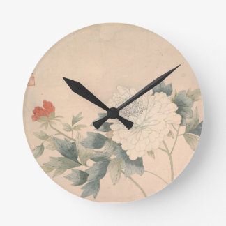 Flower Study - Yun Bing (Chinese) Round Clock
