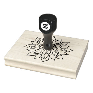 "Flower, Succulent Drawing, 4"" x 5"" Rubber Stamp"