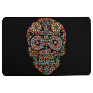 Flower Sugar Skull Floor Mat