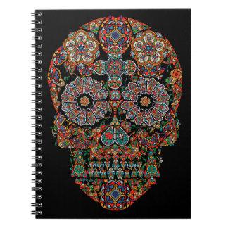 Flower Sugar Skull Spiral Notebook