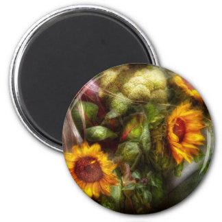 Flower - Sunflower - Gardeners toolbox 6 Cm Round Magnet