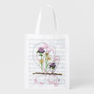 Flower Symphony Collage Reusable Bag Grocery Bag