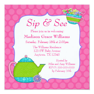Flower Tea Cups Pink Polka Dot Sip and See 13 Cm X 13 Cm Square Invitation Card