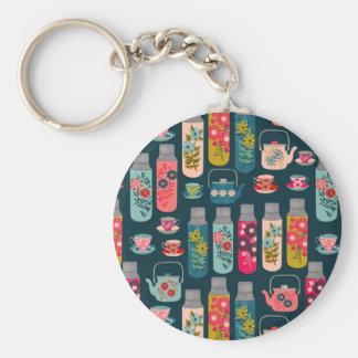 Flower Tea Thermos Vintage Florals / Andrea Lauren Basic Round Button Key Ring
