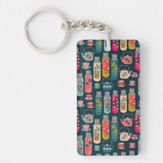 Flower Tea Vintage Florals / Andrea Lauren Double-Sided Rectangular Acrylic Key Ring