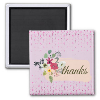Flower Thank you Bouquet Square Magnet