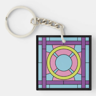 Flower Tile Art Deco Double-Sided Square Acrylic Key Ring